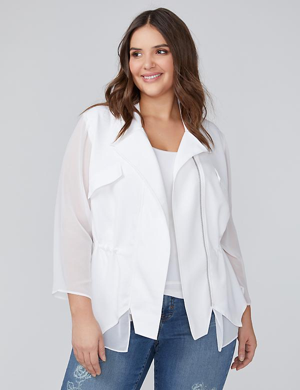 Jacket with Chiffon Sleeves & Hem