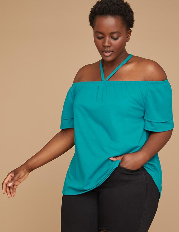 Off-the-Shoulder Flutter Sleeve Halter Top