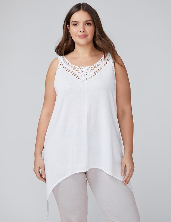 Sharkbite Hem Tunic Tank with Crochet