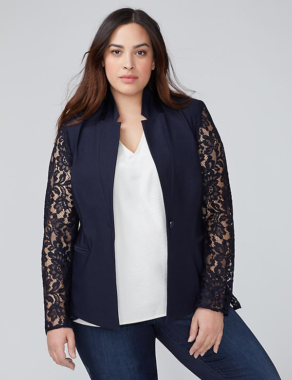 The Bryant Blazer - Lace Sleeve