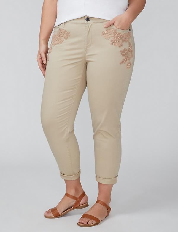 Floral Applique Casual Ankle Pant