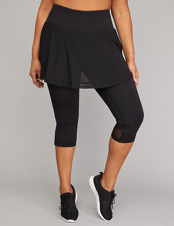 Cooling Active Capri Legging with Mesh Skirt