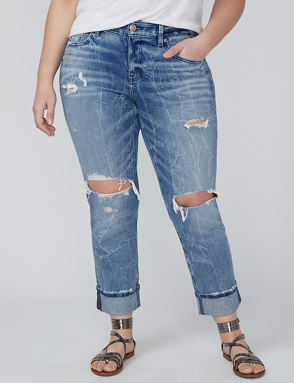 Vintage Wash Straight Crop Jean - Cuffed & Destructed