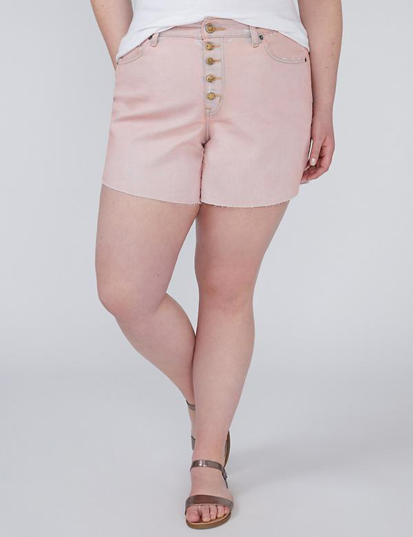 Vintage Wash Denim Short - Peach