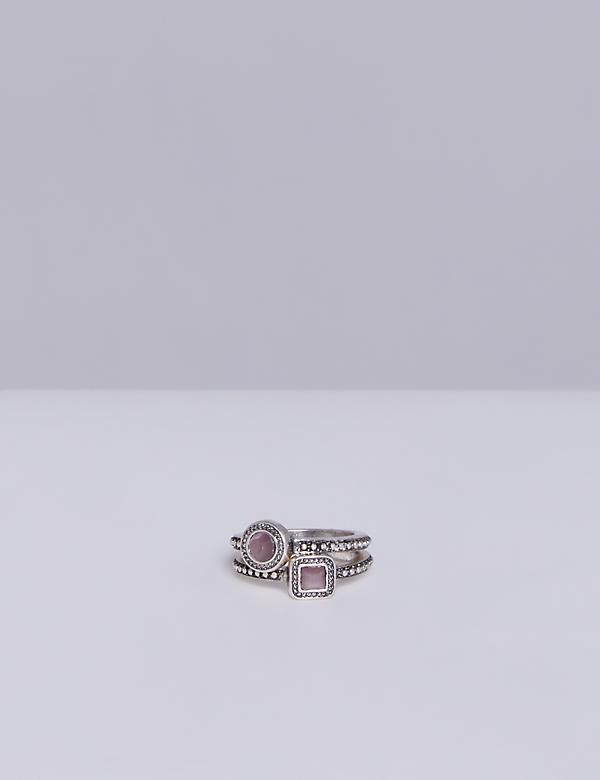 2 Stack Textured Ring Set