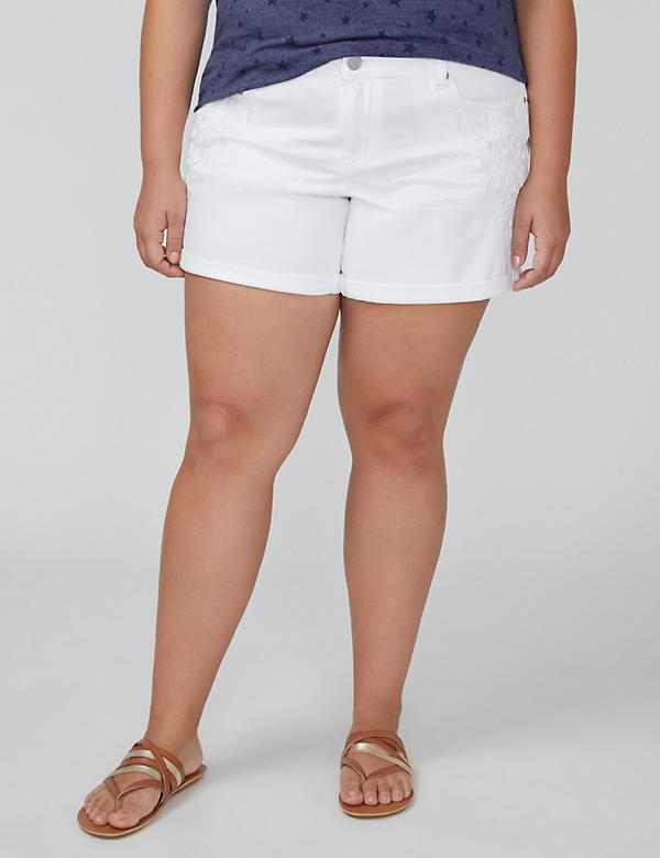 White Girlfriend Denim Short - Embroidered White
