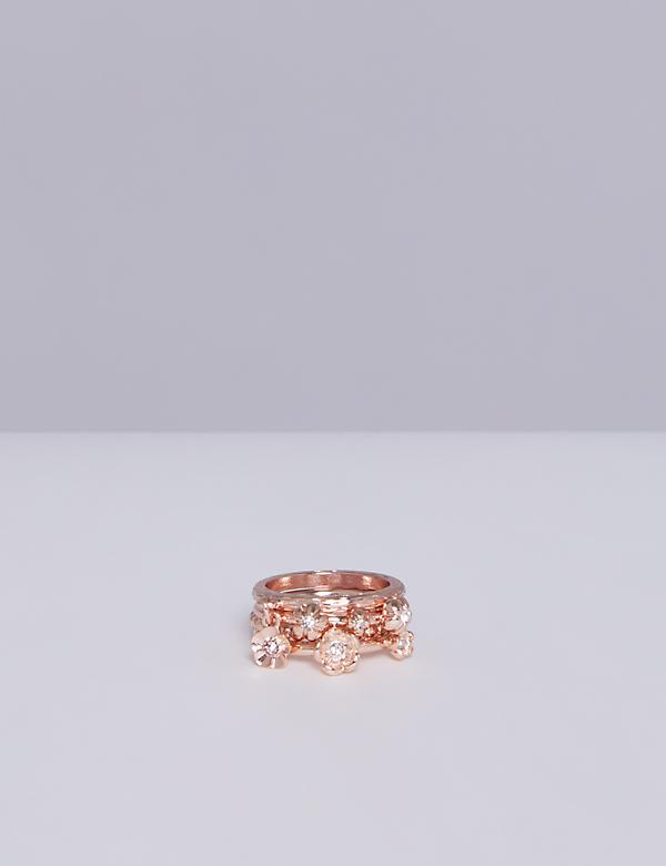 4-Stack Flower Ring Set