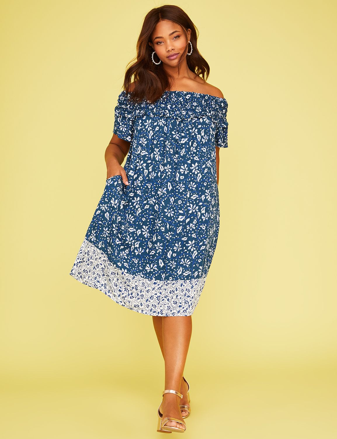 Petite Printed Smocked Off-the-Shoulder Dress