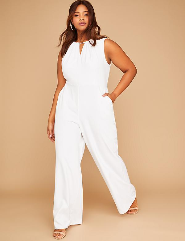 Sleeveless Jumpsuit with Neckline Cutouts