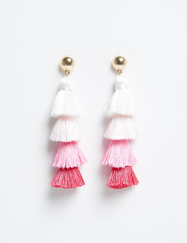 4-Tiered Fringe Drop Earrings