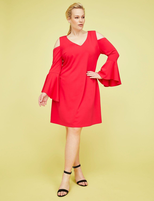 Cold-Shoulder Bell-Sleeve Fit & Flare Dress