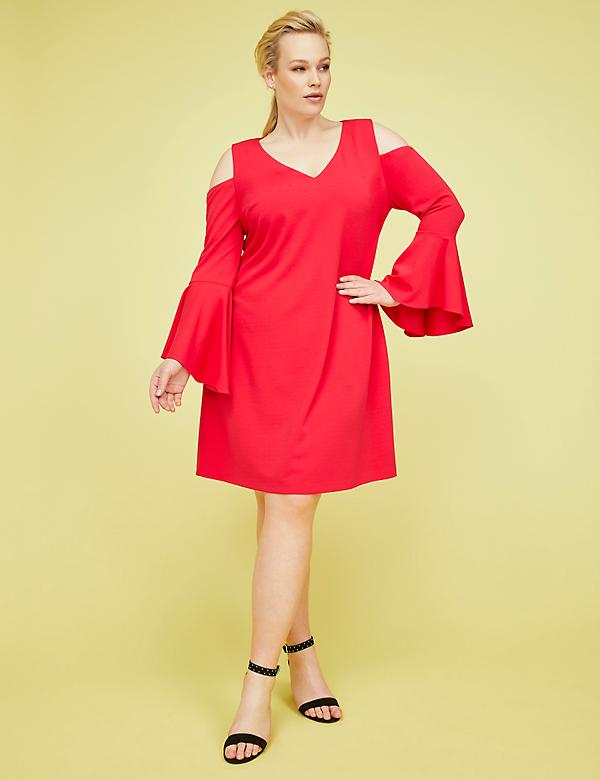 Cold-Shoulder Bell-Sleeve Fit & Flare Dress