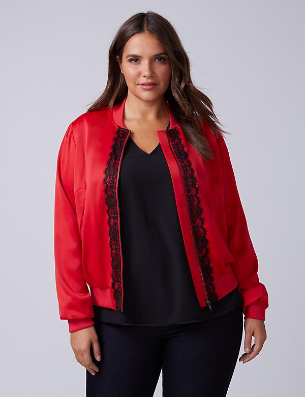 Lace-Trimmed Bomber Jacket