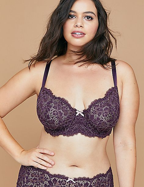 Cross-Dyed Lace Unlined Full Coverage Bra