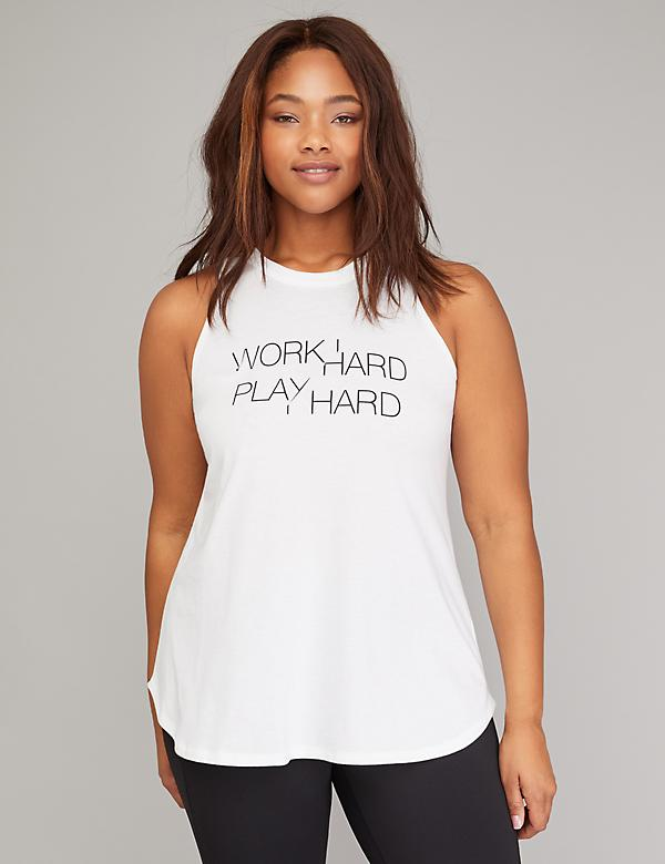 Work Hard Play Harder Graphic High-Neck Active Tank