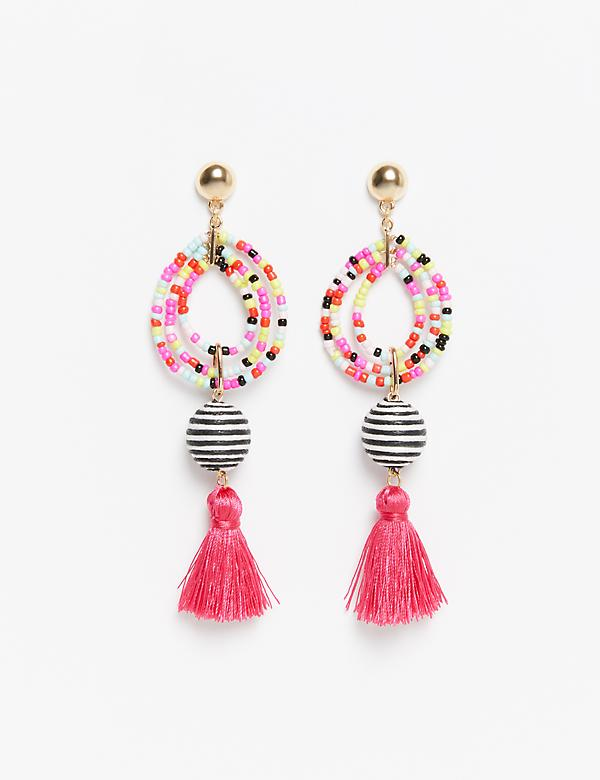 Beaded Drop Earrings with Tassel