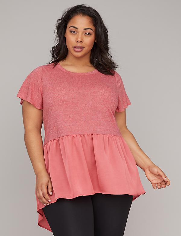 Woven Peplum High-Low Active Tunic