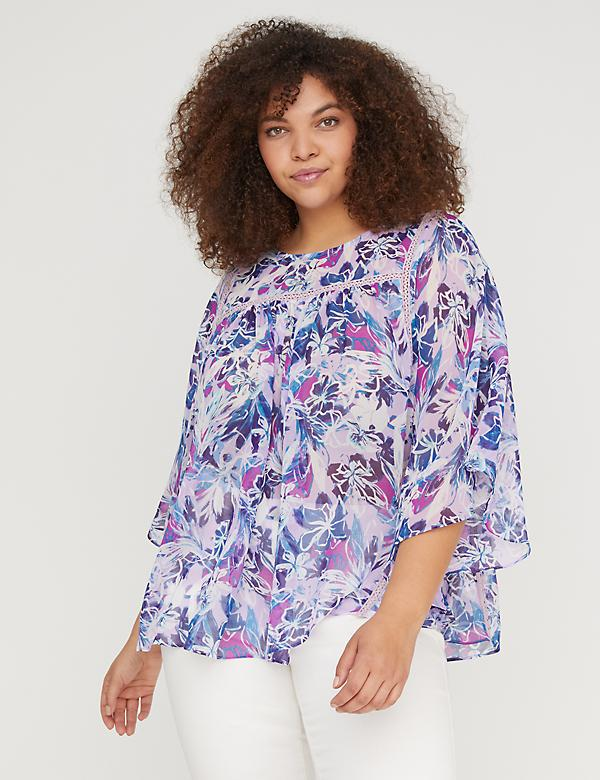 Printed Circle-Hem Flutter Top