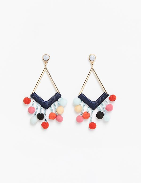 Geo Pom Drop Earrings