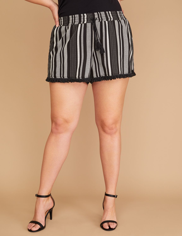 Striped Fringe-Hem Soft Short