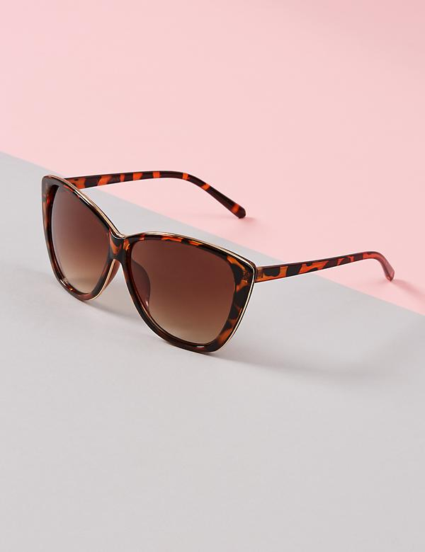 Oversized Cateye Sunglasses with Detailed Layered Frame