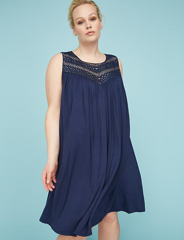 Crochet Yoke Swing Dress