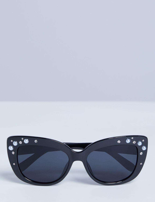 Unique Retro Vintage Style Sunglasses & Eyeglasses Lane Bryant Womens Cateye Sunglasses With Faux Pearls ONESZ Black $16.95 AT vintagedancer.com