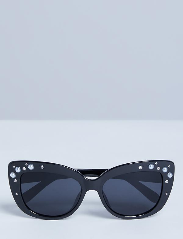 Cateye Sunglasses with Faux Pearls