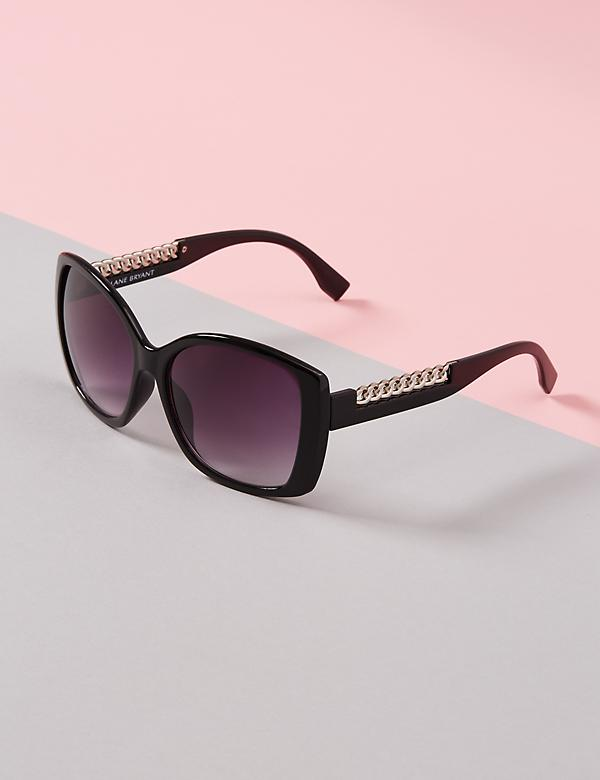 Oversized Sunglasses with Chain Arm Detail