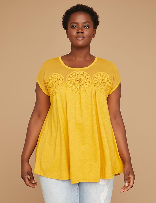 Mesh & Medallion Crochet Yoke Tee