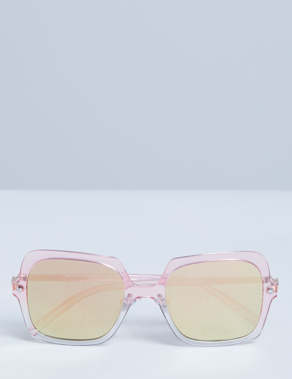Unique Retro Vintage Style Sunglasses & Eyeglasses Lane Bryant Womens Oversized Transluscent Ombre Square Sunglasses ONESZ Shell Pink $16.95 AT vintagedancer.com