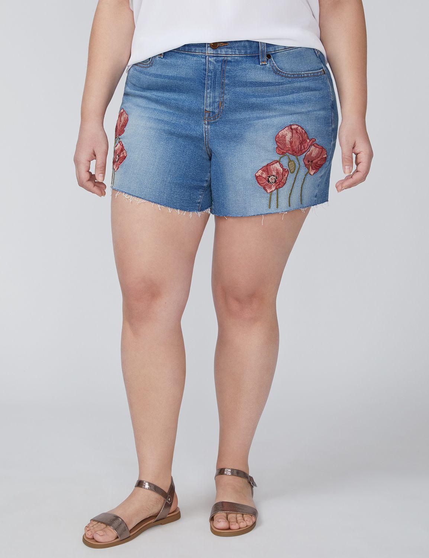 Girlfriend Denim Short - Poppy Embroidered