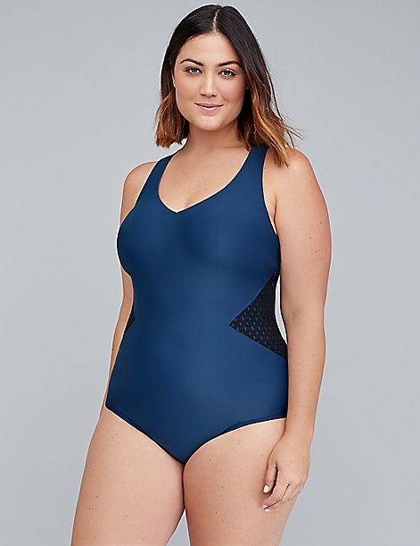 Cacique Sport Mesh Inset Lap Suit with Built-In No-Wire Bra