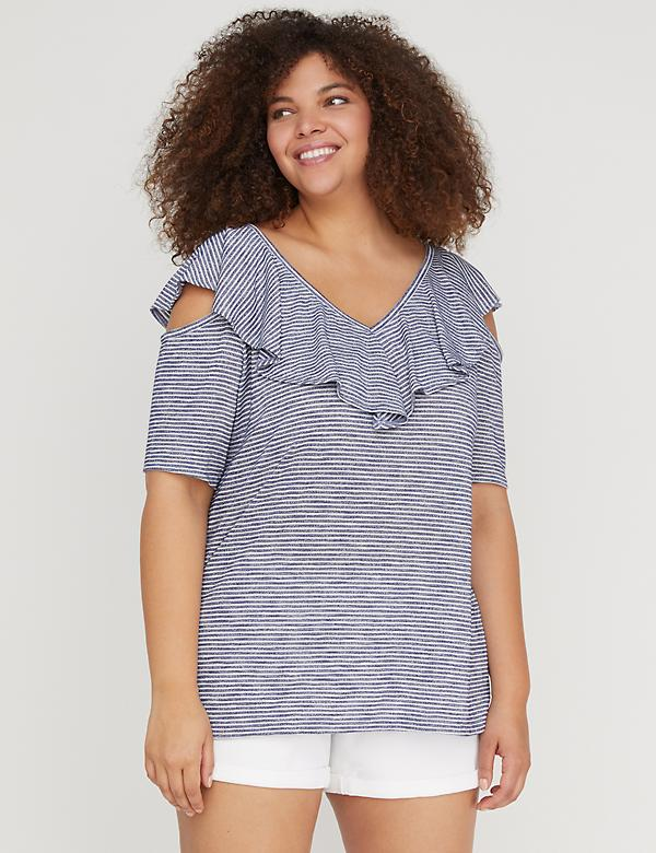 Hacci Ruffle Cold-Shoulder Top