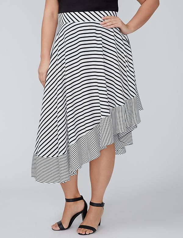 Mixed Stripe Asymmetrical Skirt