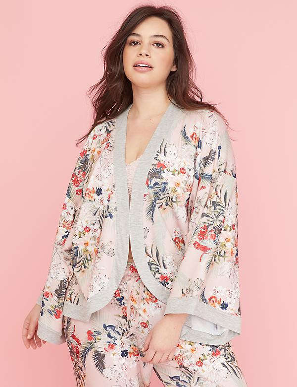 French Terry Cropped Sleep Kimono