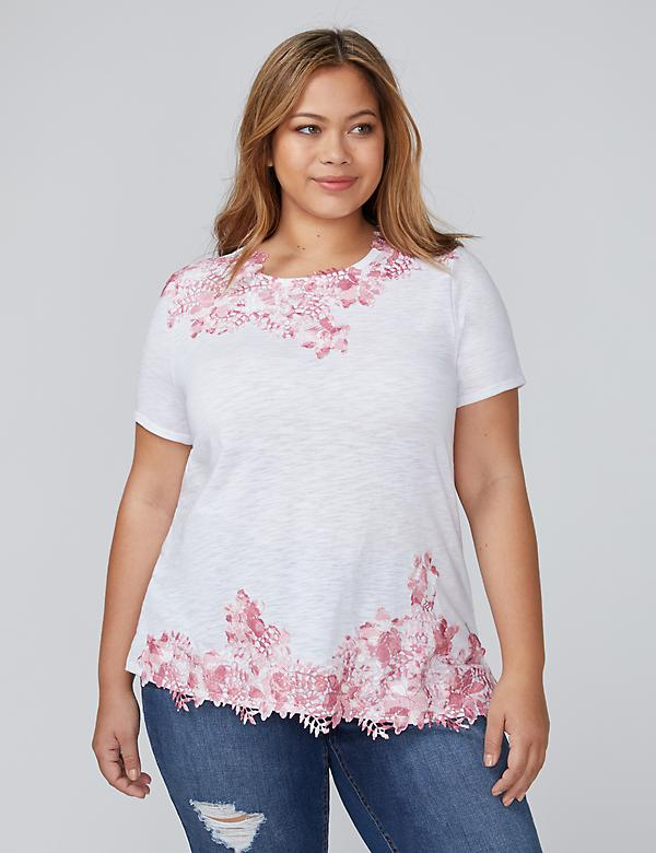 Printed Lace Applique Top