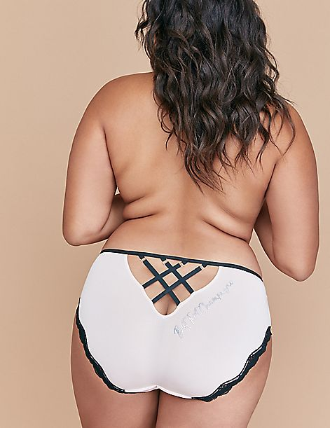Strappy-Back Hipster Panty with Lace Trim