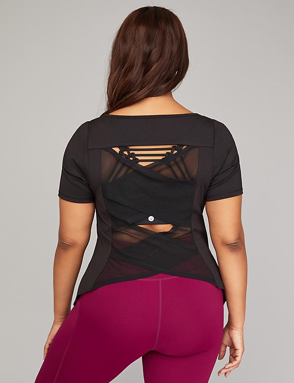 Wicking Strappy Mesh-Back Active Top