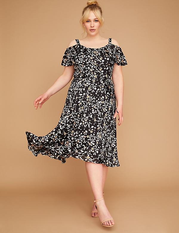 Floral Ruffle Sleeve Midi Dress