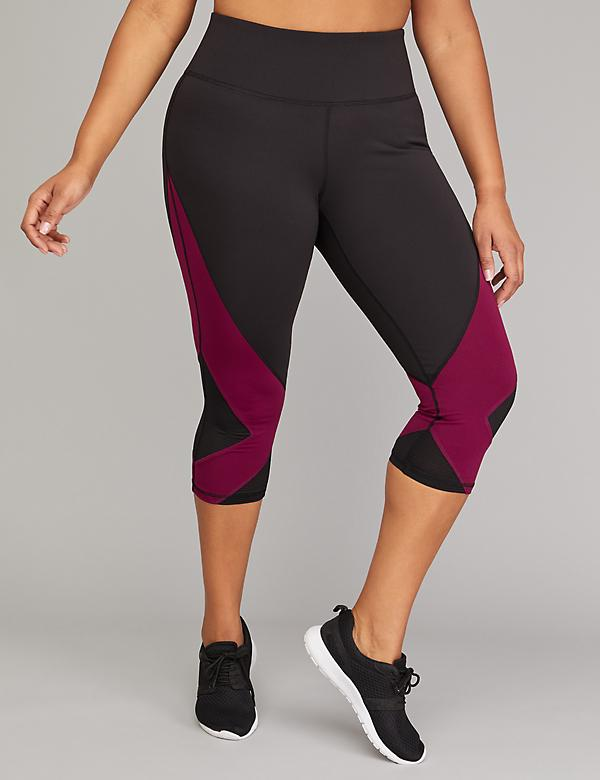 Wicking Active Capri Legging - Colorblock & Shadow Stripe