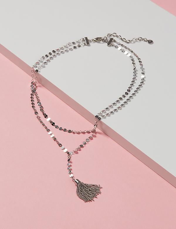 Coin Tassel Y Necklace
