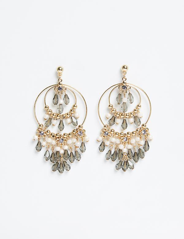 Beaded Multi-Circle Chandelier Earrings
