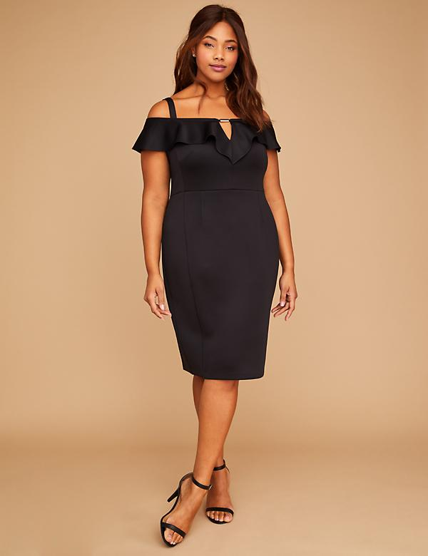 Built-In Smoothing Slip Scuba Off-the-Shoulder Sheath Dress