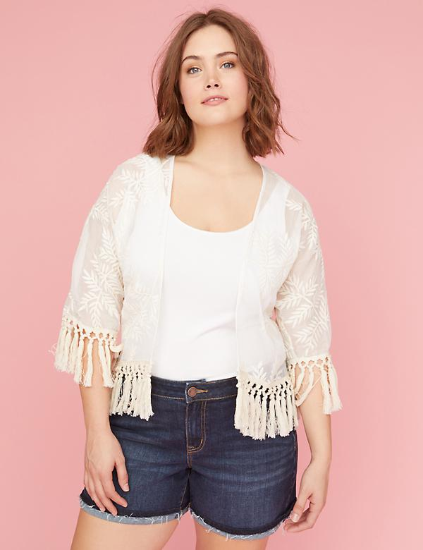 Embroidered Fringe Overpiece