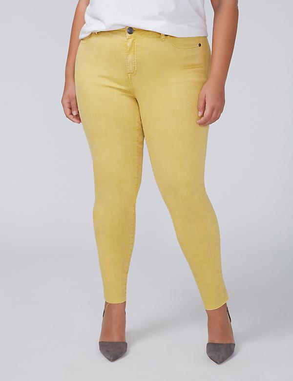 Power Pockets Super Stretch Skinny Ankle Jean - Misted Yellow