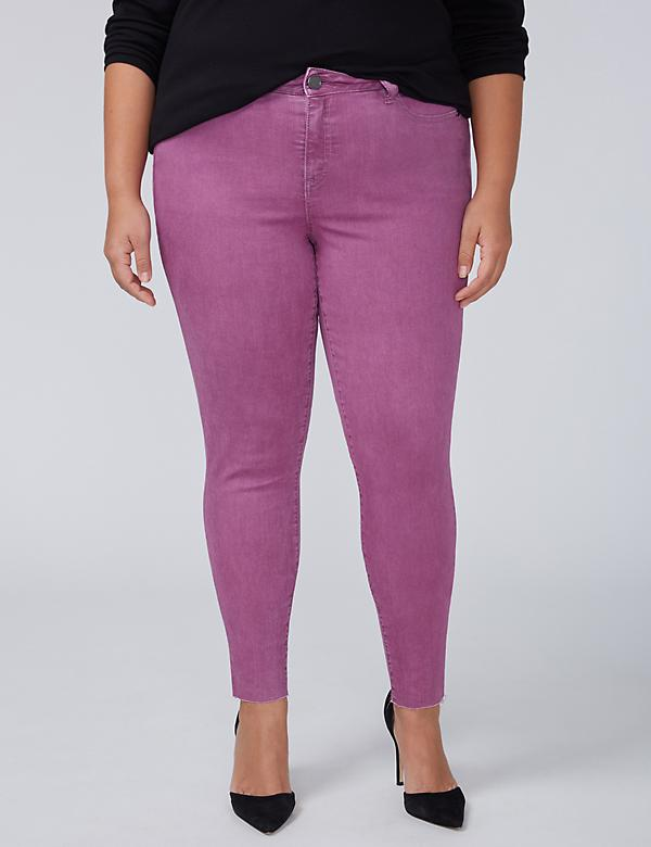 Power Pockets Super Stretch Skinny Ankle Jean - Grape