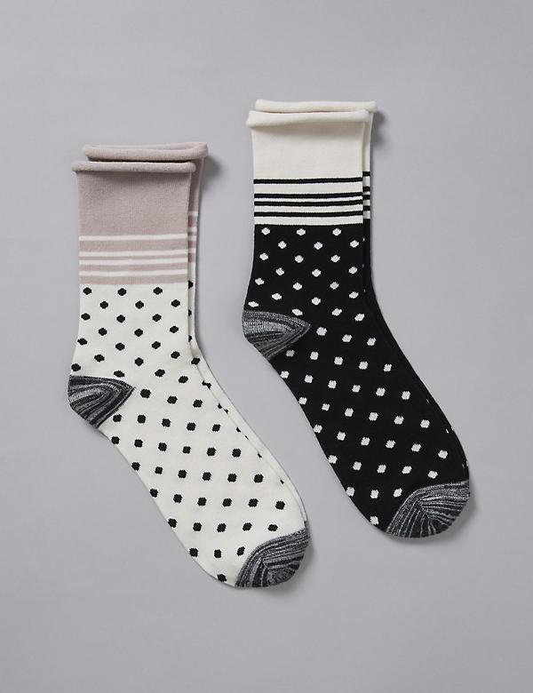 Polka Dot & Striped Crew Socks 2-Pack