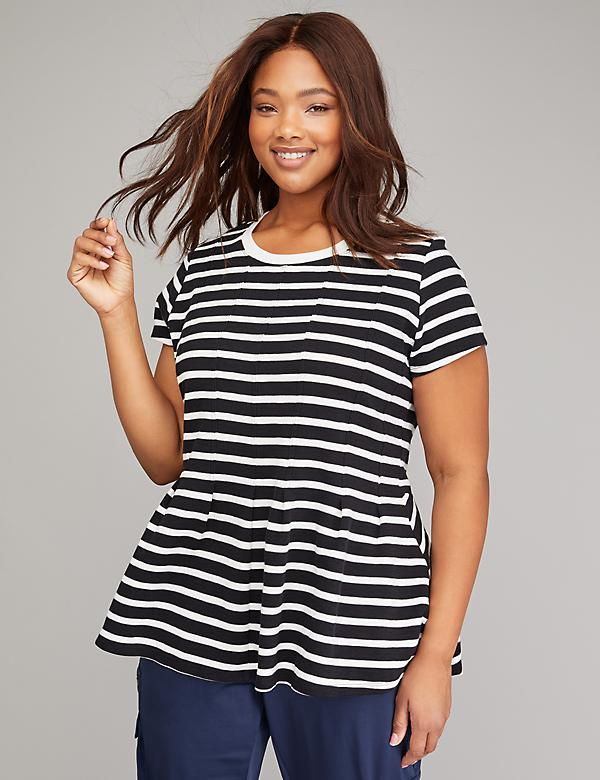 Striped Pleated Peplum Active Top