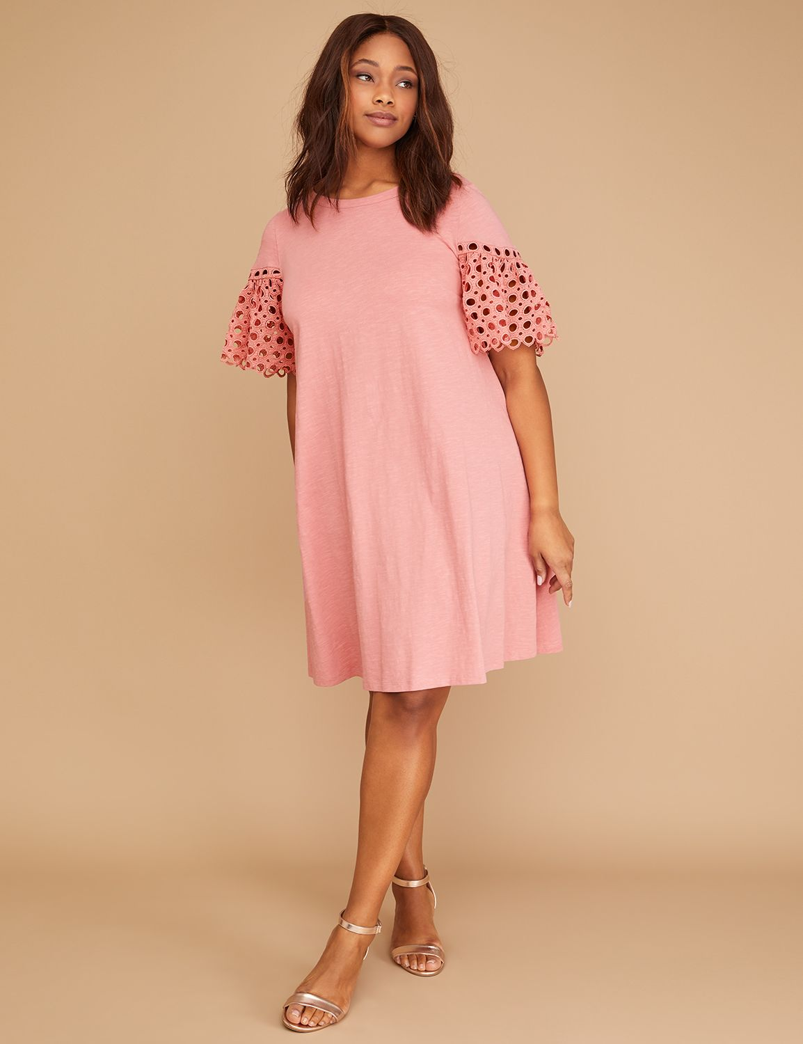 Petite Crochet-Sleeve Swing Dress